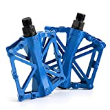 Chollima Aluminum Alloy Bicycle Pedals Road Bike Pedals for BMX MTB Cycling 9/16 Inch Blue