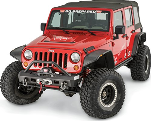 WARN 101450 with Elite Series Stubby Front Bumper for Jeep JK Wrangler, with Grille Guard Tube