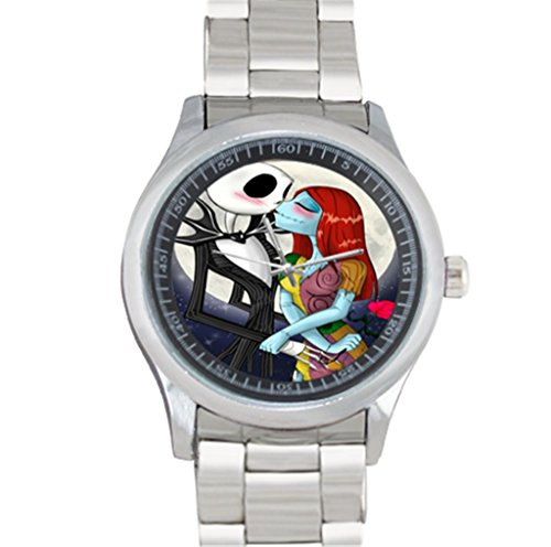 Metal Watch Stainless Steel Analog Sport Wristwatch Art Design Jack and Sally