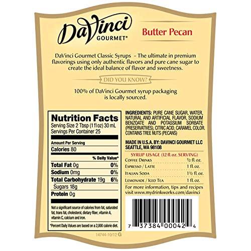 DaVinci Gourmet Classic Flavored Syrups Butter Pecan 750 mL