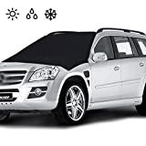"""Car Windshield Cover Magnetic, Frost Guard Snow Cover Double Side Ice Shield Design, Sunscreen, Water, Dust, Scratch All Weather Protection - Fits Most Cars, Trucks, SUV(82.5""""x 47"""")"""