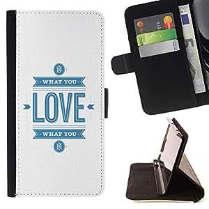 For Samsung Galaxy S3 III i9300 i747 Case , Blanco Minimalista Love Blue Texto Usted- la tarjeta de Crédito Slots PU Funda de cuero Monedero caso cubierta de piel