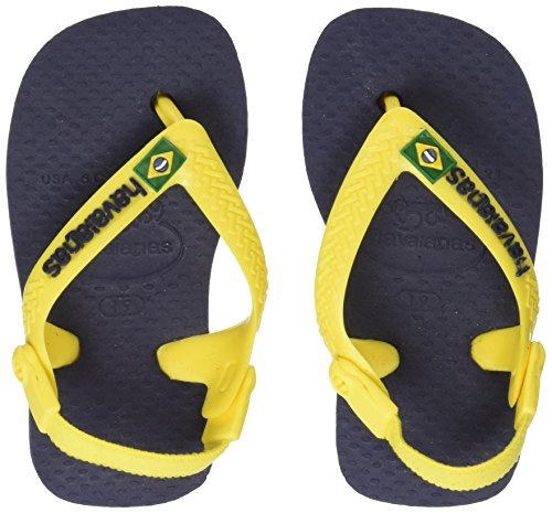 Havaianas Baby Brasil Logo Navy Blue/Citrus Yellow Rubber 23/24 BR/7/8 M US - Blue Yellow Havaianas