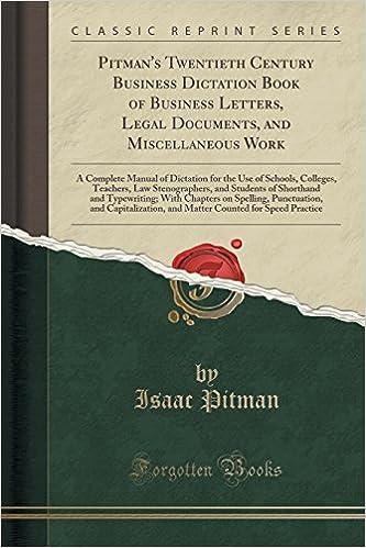 Buy Pitmans Twentieth Century Business Dictation Book Of Business - Buy legal documents online