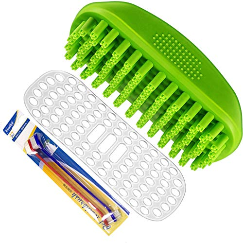 Dog Shampoo Rubber Brush with 2 toothbrushes, Premium Dog Shampoo Brush Soft Rubber Dog Grooming Brush Message Comb with Fur Catching Function