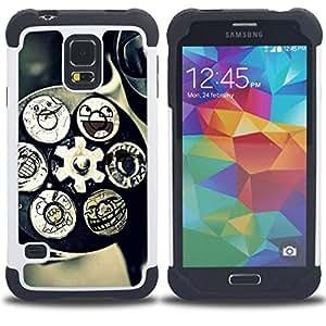 Dragon Case- Dise?¡Ào de doble capa pata de cabra Tuff Impacto Armor h??brido de goma suave de silicona cubierta d FOR Samsung Galaxy S5 I9600 G9009 G9008V- FUNNY TECHNOLOGY SMILEY ART MECHANISM