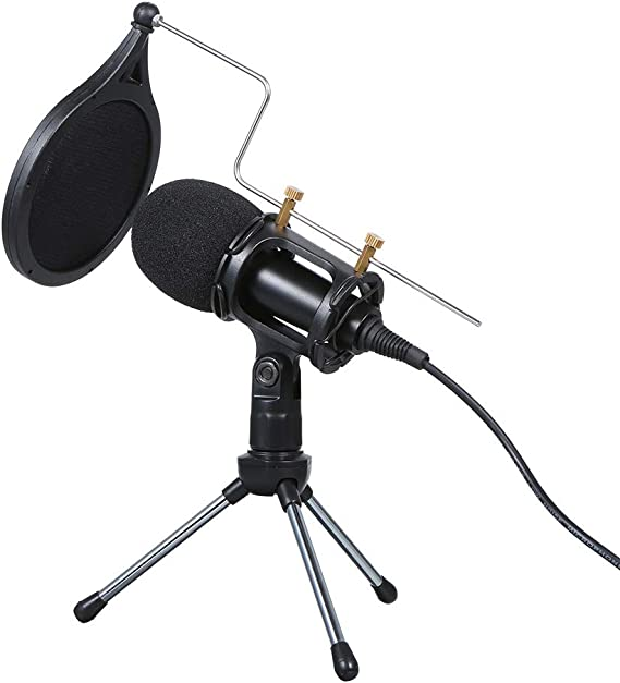 Festnight Wired Condenser Microphone Audio 3.5mm Studio Mic Vocal Recording KTV Karaoke Mic with Stand for PC Phone