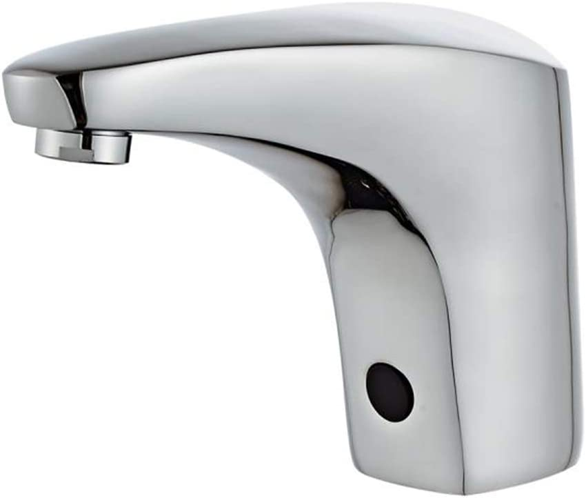 Automatic Sensor Touchless Bathroom Faucet Chrome Motion Activated Hands-Free Vessel Sink Tap Chrome Vanity Faucets Lead Free Certified Battery or Plug Powered