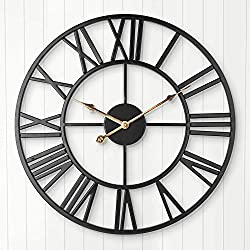 Large Wall Clock, 24 Inch Industrial Vintage Clock with Roman Numerals, Indoor Non-Ticking Battery Operated Metal Decorative Clock for Home, Living Room, Bedroom, Office, Kitchen, Den