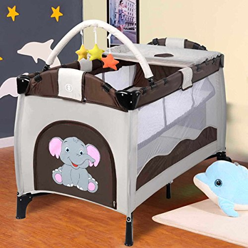 Folding Play Playard Infant Child Baby Playard Travel Cot Bed Playpen Bassinet (Travel Cot Bassinet)