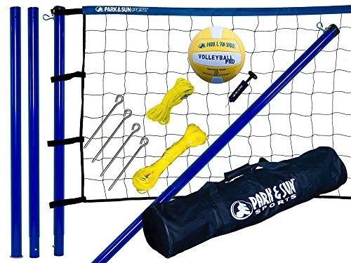 Park & Sun Sports Spiker Sport: Portable Outdoor Volleyball Net System, Blue