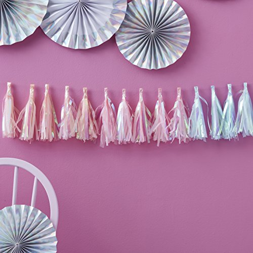 Ginger Ray Pastel Iridescent Holographic Foil Tassel Garland Decoration - Iridescent Party (Foil Tassel Garland)