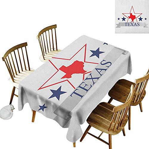 Cranekey Small Rectangular Tablecloth W50 x L80 Texas Star San Antonio Dallas Houston Austin Map with Stars Pattern USA Navy Blue Vermilion Pale Grey Perfect for Spring Summer Farmhouse Décor & More ()