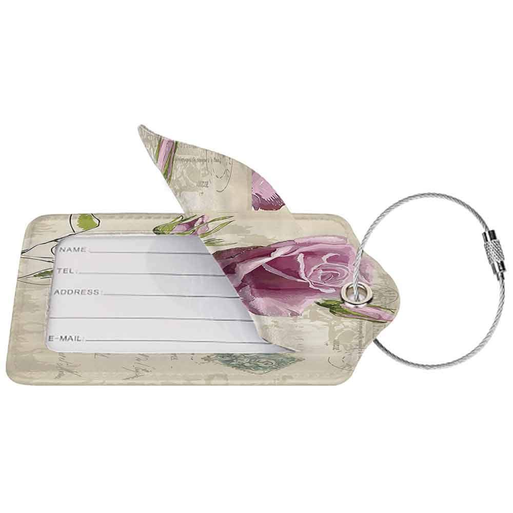 Multicolor luggage tag Rose Vintage Postcard Design with Delicate Rose Blossom Hand Drawing Artsy Print Hanging on the suitcase Tan Pale Pink Green W2.7 x L4.6