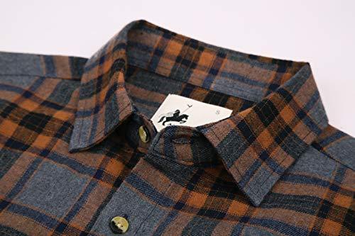 4ed8dfd8f8b Joey CV Mens Flannel Shirts Plaid Regular Fit Long Sleeve Casual Button  Down Shirts(Grey-262,Medium)