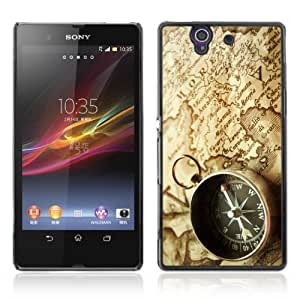 Designer Depo Hard Protection Case for Sony Xperia Z L36H / Map & Compass