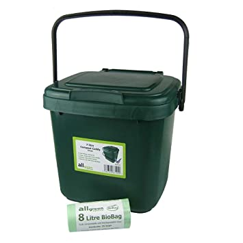 green kitchen compost caddy u0026 25x 8l biobags for food waste recycling 7 litre