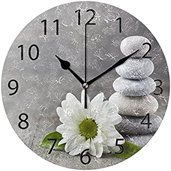 ALAZA Hipster Zen Stone and Flower Round Acrylic Wall Clock, Silent Non Ticking Oil Painting Home Office School Decorative Clock Art