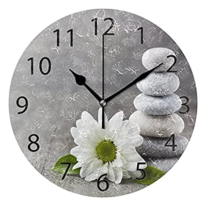 Amazon.com: ALAZA Hipster Zen Stone and Flower Round Acrylic Wall Clock, Silent Non Ticking Oil Painting Home Office School Decorative Clock Art: Home & ...