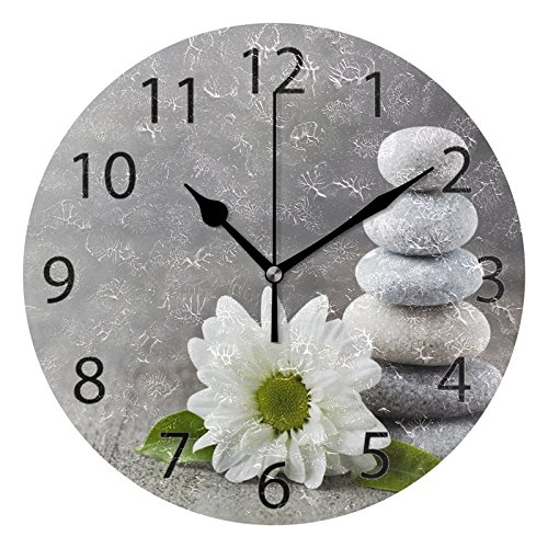 ALAZA Hipster Zen Stone and Flower Round Acrylic Wall Clock