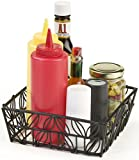 Set of 6, Condiment Basket with Decorative Leaf Accent, Square, Black Powder Coated Steel Wire Construction, Open Style Design, 7-1/8 x 2-1/2 x 7-1/8-Inch