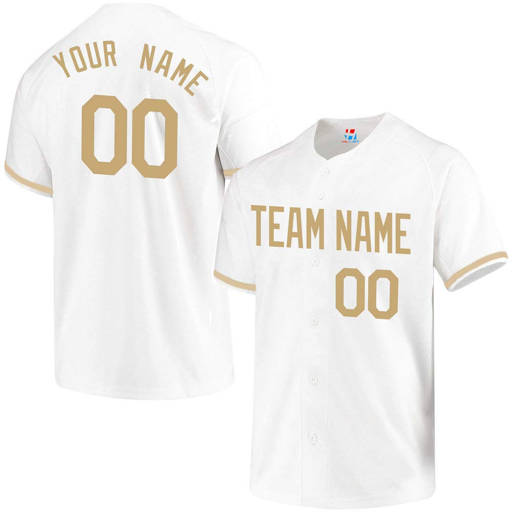 Pullonsy College White Youth Custom Baseball Jersey Embroidered Your Name & Numbers,Golden Size XL by Pullonsy