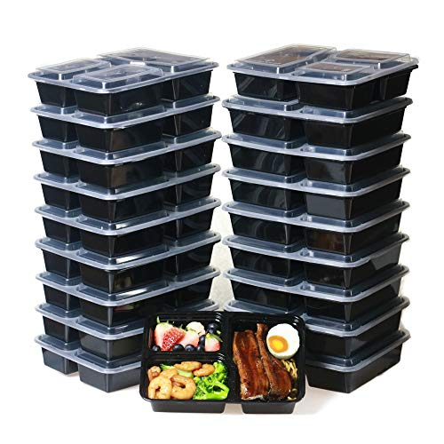 Meal Prep Containers 3 Compartment 20 Pack Bento Lunch Box Food Containers BPA Free/Leak Proof/Microwave amp Freezer Safe Black 32 OZ