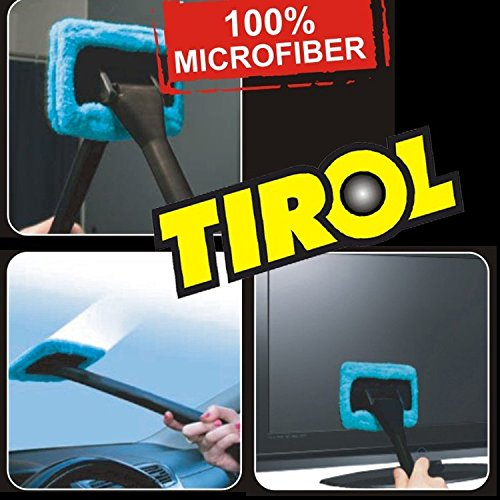 Auto Glass Window Brush with Long Handle and Pivoting Head Microfiber Vehicles Interior Windshields - Mitt Fog