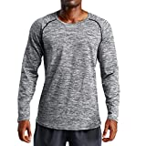 Pervobs Men's Stretchy Long Sleeve Fitness Training T-Shirt Outdoor Sports Blouse Top(2XL, Dark Gray)