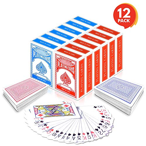 Gamie Red and Blue Decks of Playing Cards (Pack of 12) | Each Pack Includes a Printed Box | Fun Poker Night and Party Favors | Great School & Carnival Prizes for Adults and Kids Ages 3+