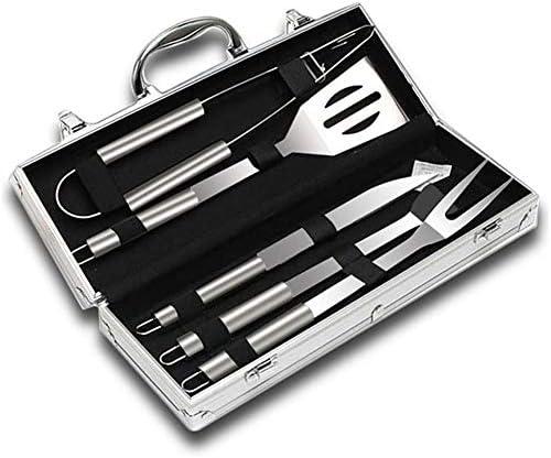 JZH-kitchen Utensili Barbecue, Acciaio Inox Set con Custodia in Alluminio,Set di Attrezzi per Barbecue Perfetti per BBQ Accessori - 5 Pezzi Set da Barbecue