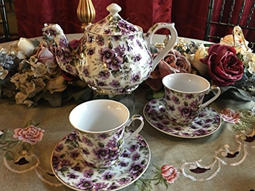 Tea for Two, Purple Pansies: 6 Cup Porcelain Tea Pot and 2 Adult Size Cups and (24k Gold Trimmed Tea)