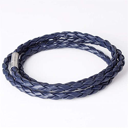 Hot items girls boys MensBlack Leather Interlaced Cuff Bangle Wristband Bracelet