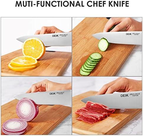 Set couteaux professionnel, lot de couteaux en acier inoxydable, DEIK Bloc de couteaux avec support acrylique
