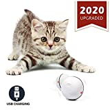 YOFUN Smart Interactive Cat Toy - Newest Version 360 Degree Self Rotating Ball - USB Rechargeable Wicked Ball - Build-in Spinning Led Light - Stiulate Hunting Instinct for Your Kitty (White) m