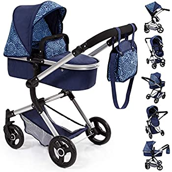 Bayer Design 18403AA Stroller, Doll Combi Pram Neo Vario with Changing Bag and Underneath Shopping Basket, Foldable, Swivel Front Wheels, Blue with Pattern ...