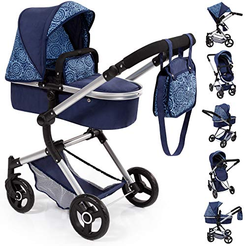 Bayer Design 18403AA Stroller, Doll Combi Pram Neo Vario with Changing Bag and Underneath Shopping Basket, Foldable, Swivel Front Wheels, Blue with Pattern Classic Combi Car Dolls Seat