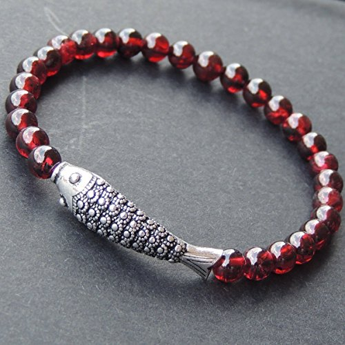 Men and Women Bracelet Handmade with 5.5mm Natural Garnet Healing Gemstone Beads and Genuine 925 Sterling Silver Lucky Fish Charm (Fish Charm Garnet)