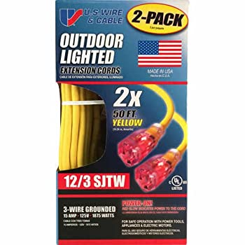 U.S. Wire & Cable Outdoor Lighted Extension Cord 50 Ft 2 Pk Yellow 12/3 SJTW