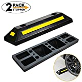 2 Pack Professional Grade Heavy Duty Rubber Parking Guide Car Garage Wheel Stop Stoppers with Yellow Reflective Stripes,for Car,Truck, RV, Trailer, and Garage