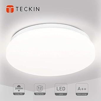 Luminaire plafonnier LED lampe plafond,Luminaire salle de bain,TECKIN 24W  2000LM Blanc Naturel 4500K Applicable à la salle de bain la chambre la ...