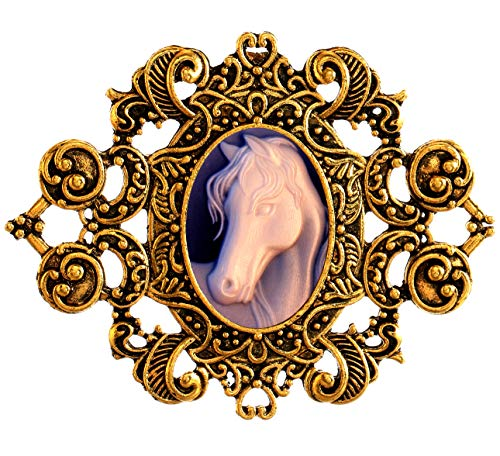 Royal Heart Pattern Style Costume Brooch Cameo Cabochon for Women (Strong Horse)