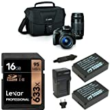 Canon EOS Rebel SL1 Digital SLR Kit (Black) with 18-55mm and 75-300mm Lenses, 16GB Memory Card, Extra Battery and Bag