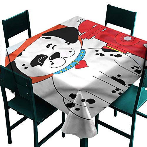 DONEECKL Wrinkle Resistant Tablecloth Fireman Dalmatian Firefighter Puppy