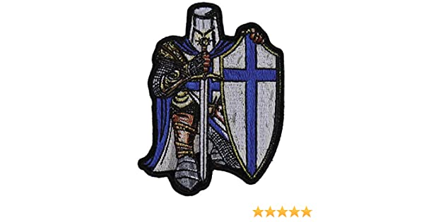 38e356305c9 Amazon.com  Blue Crusader Knight Small Patch - 3.3x4.5 inch. Embroidered  Iron on Patch  Arts