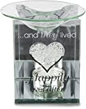Pavilion Gift Company Glorious Occasions Happily Ever After Glass Wedding Candle Holder, 5'', Clear