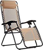 AmazonBasics Outdoor Zero Gravity Lounge Folding Chair, Beige