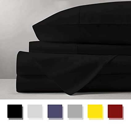 Amazon.com: Mayfair Linen 100% Egyptian Cotton Sheets, Black Twin