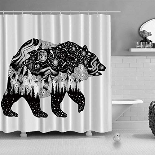 "YOLIYANA Bear Silhouette for t Shirt Print or Temporary Tattoo Shower Curtain Various Shower Curtain,Hand Drawn Surreal Design for Apparel,79""Long x 71""Wide"