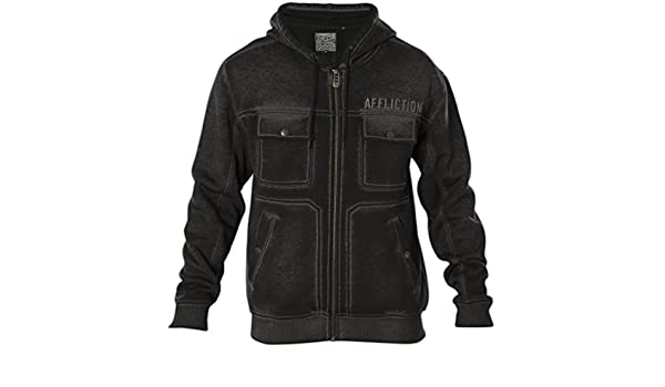 Affliction Invasion 110OW301 New Fashion Graphite Jacket with Hood for Men